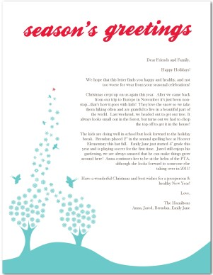 Printable Whimsical Bird Holiday Letter Template