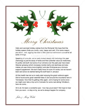 Printable Holly Holiday Letter Template