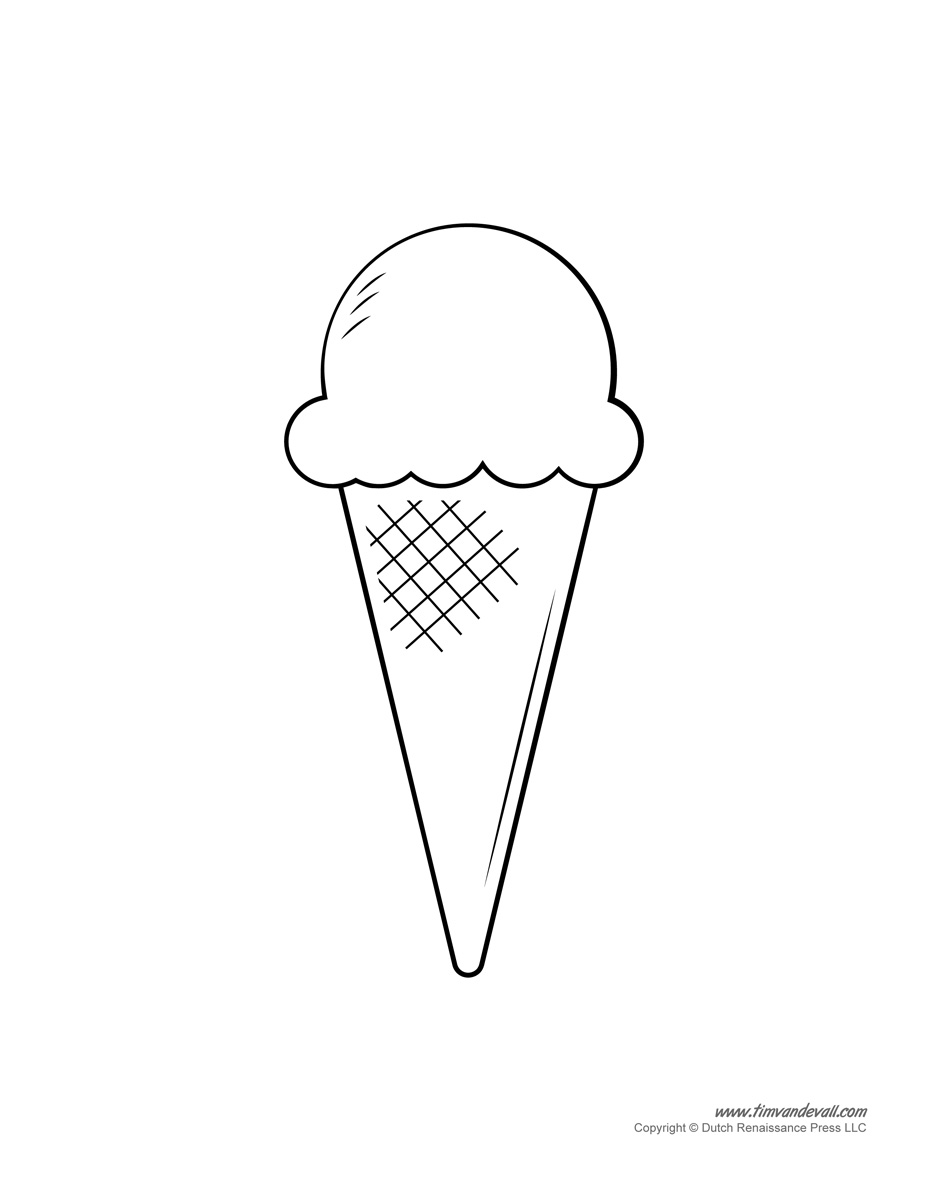 0to5.com.au Ice Cream Cone template suitable for young children