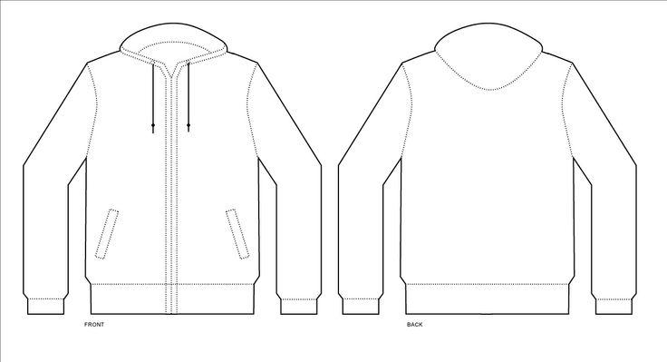 Men's Jacket Or Sweatshirt Template With Zipper Stock Vector