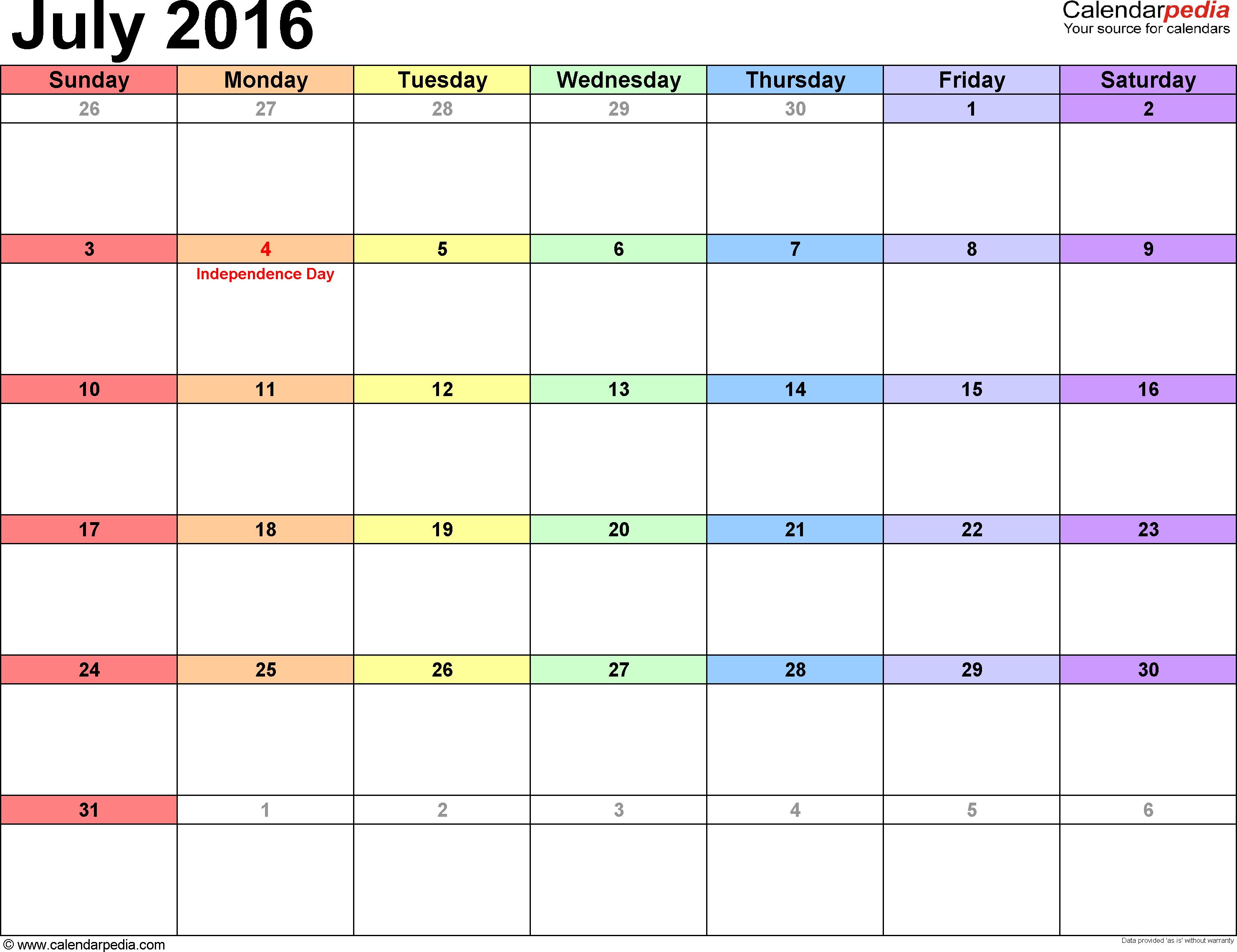 Calendar July 2016 UK, Bank Holidays, Excel/PDF/Word Templates