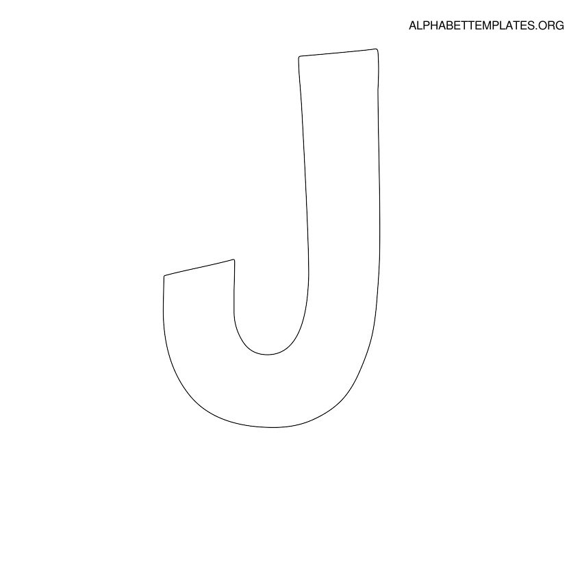 Letter J pattern. Use the printable outline for crafts, creating