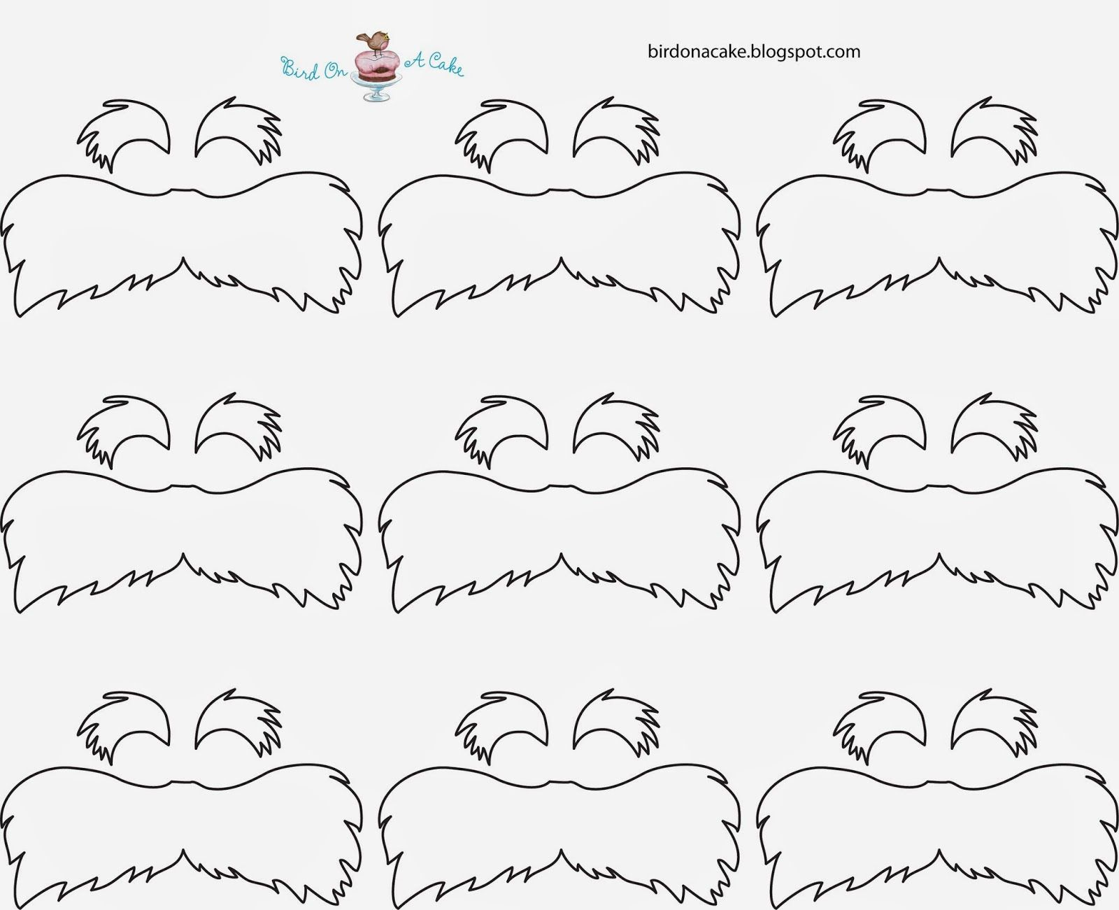 lorax mustache template straws | Next, melt the yellow candy melts