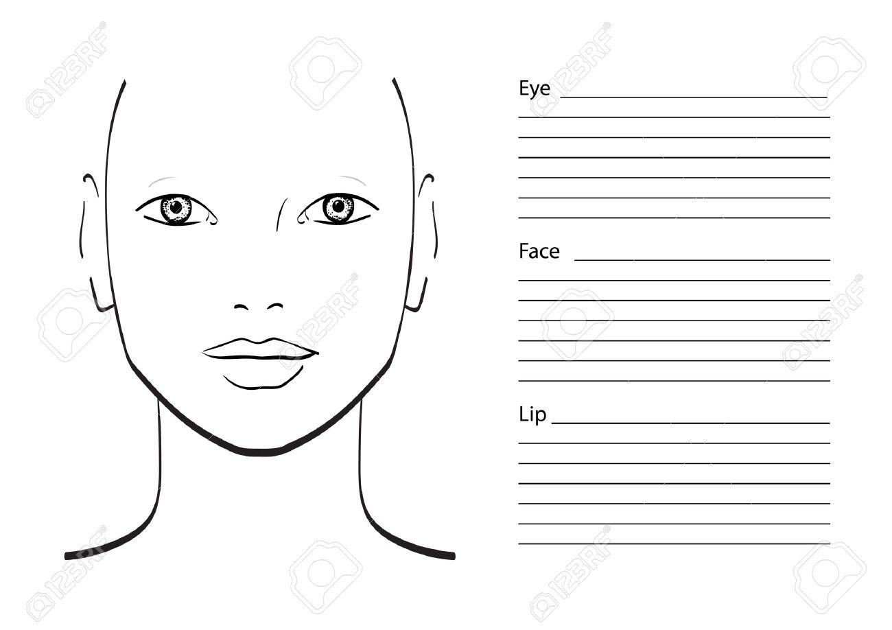 Face Chart Makeup Artist Blank. Template. Vector Illustration