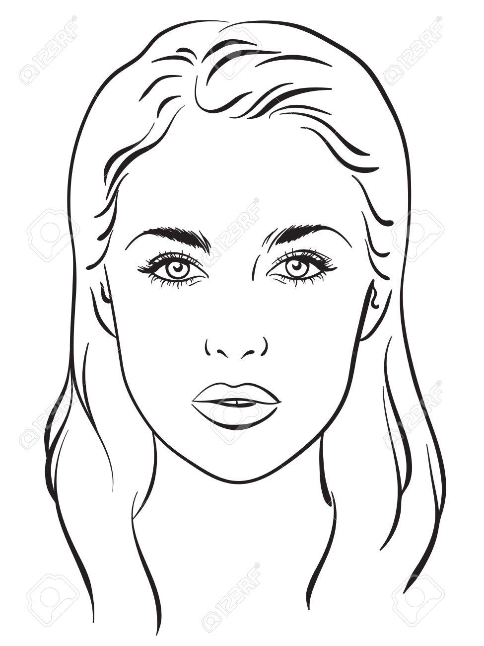 Beautiful Woman Portrait. Face Chart Makeup Artist Blank Template