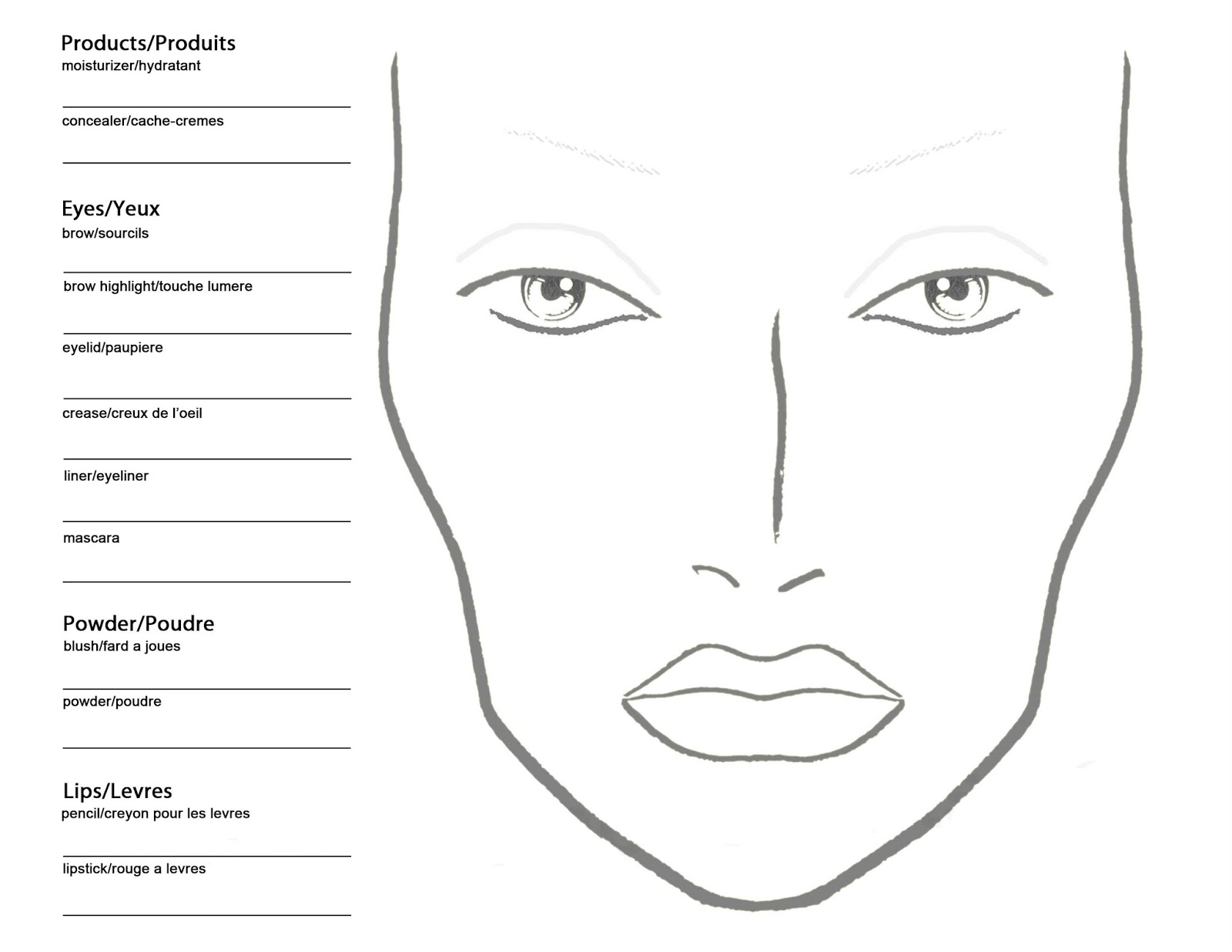 makeup template April.onthemarch.co
