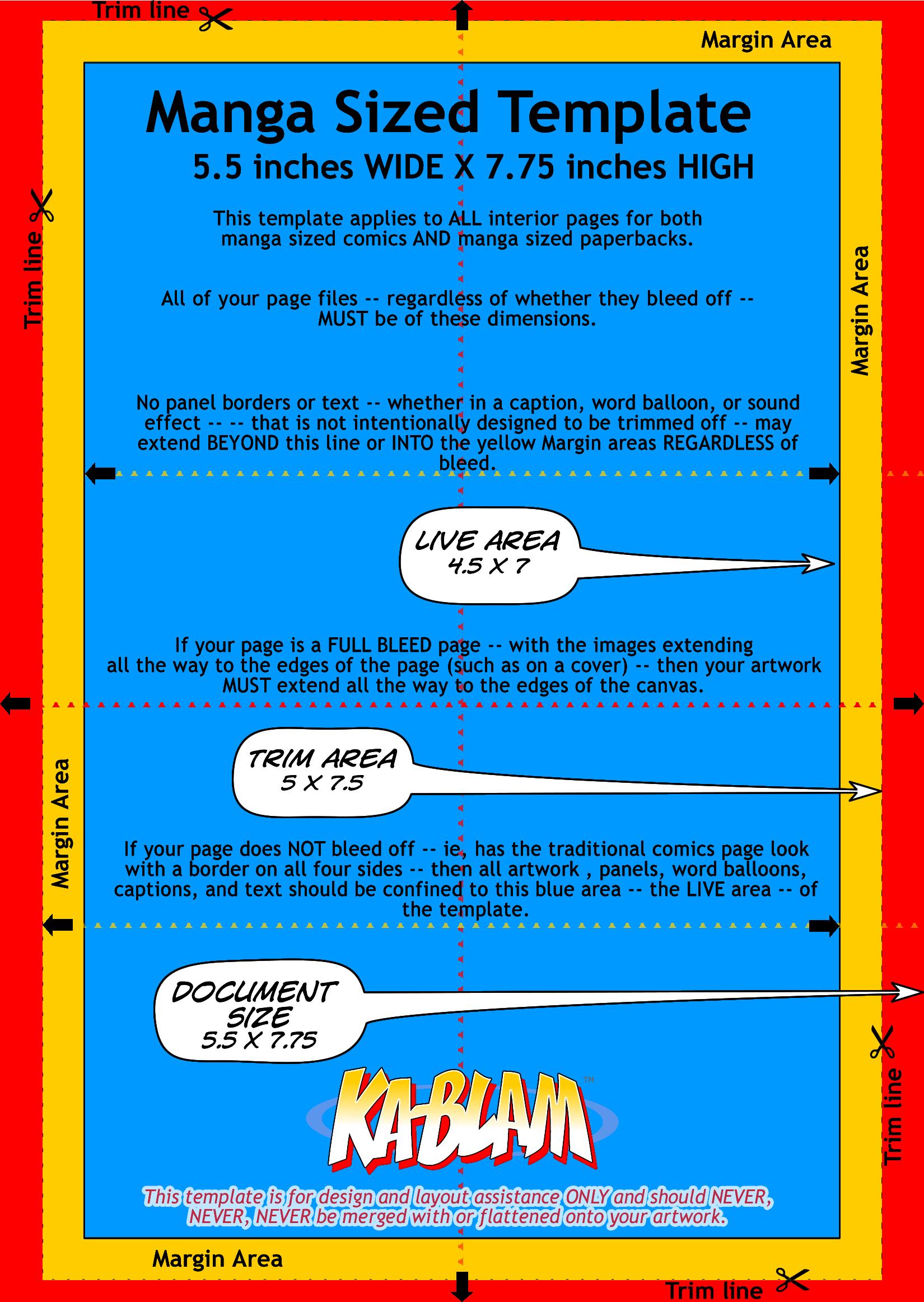 Manga Sized Page Template | Ka Blam Digital Printing