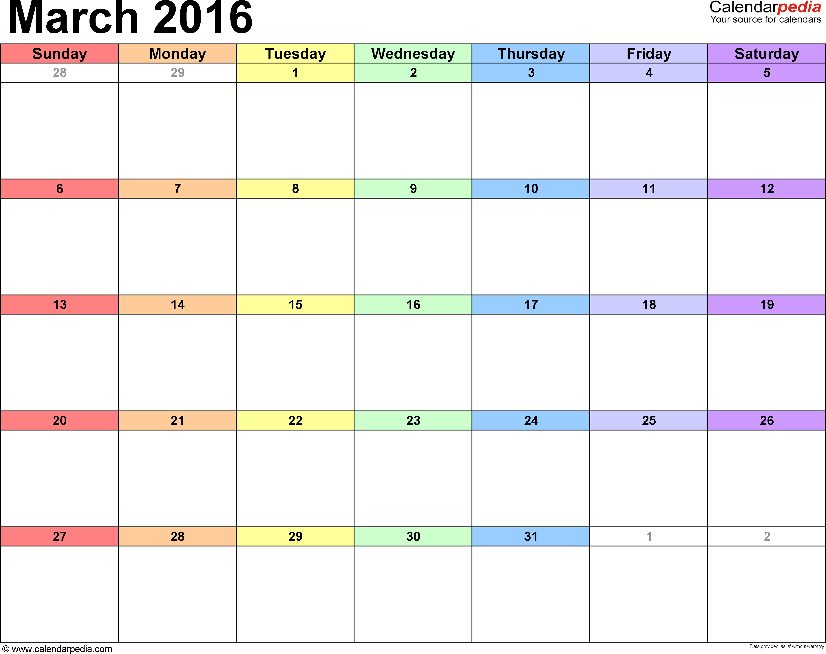 March 2016 Calendars for Word, Excel & PDF
