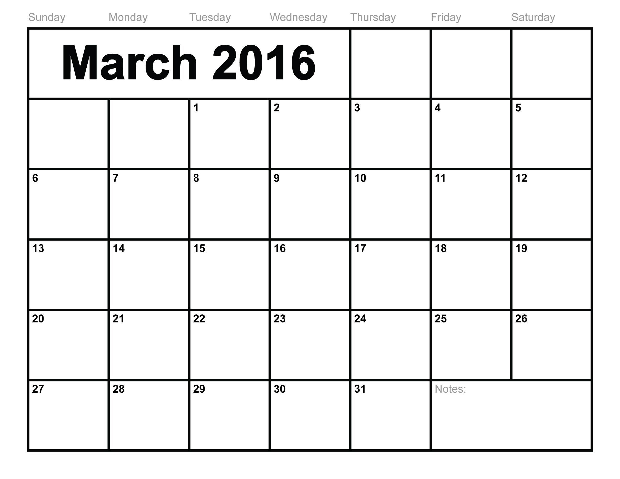 March 2016 calendar printable free blank calendar 2016.