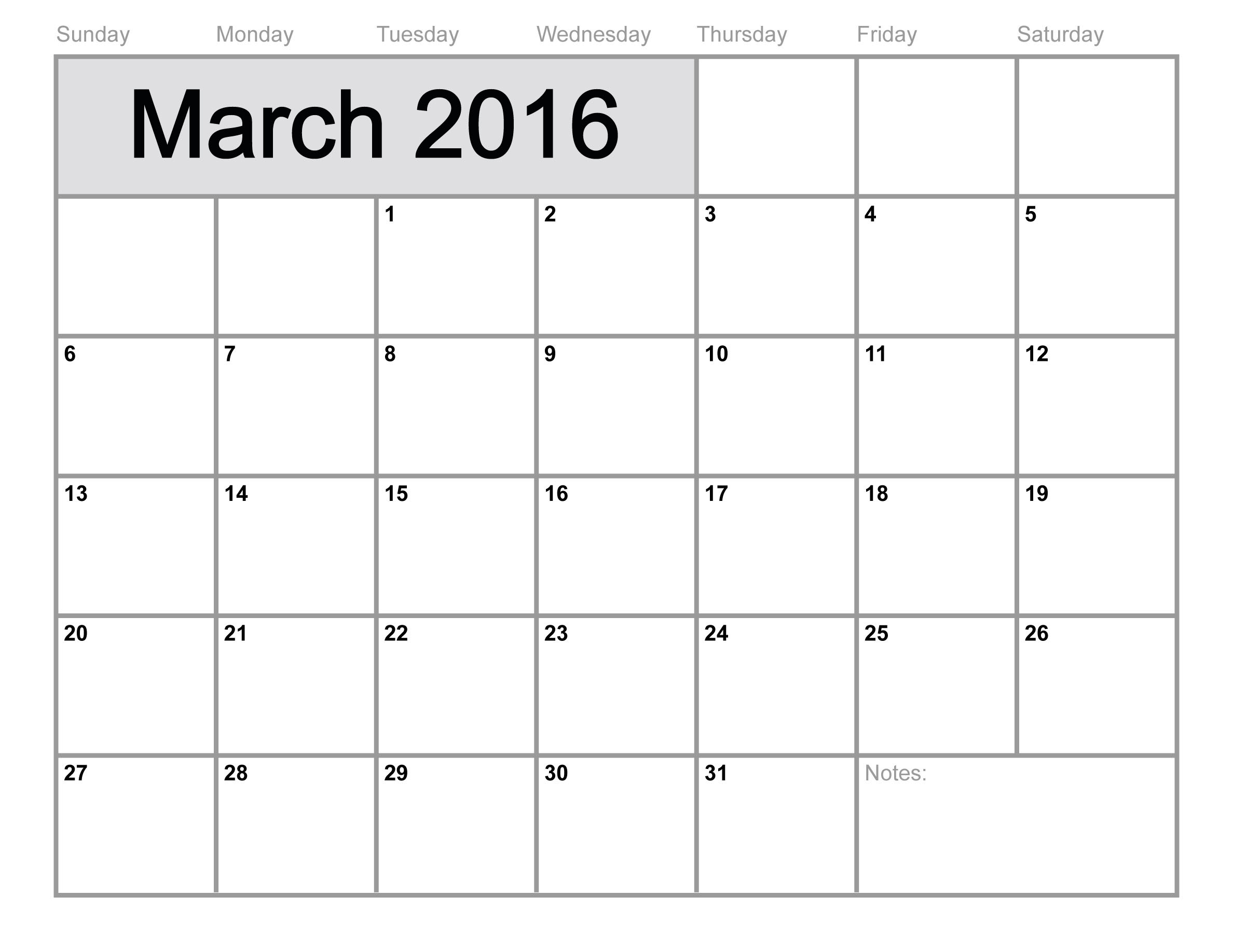 March Calendar 2016 Printable Altlaw Outstanding | mightymic.org