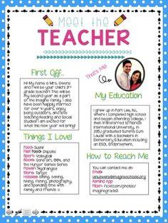 Meet the Teacher Editable Template for FREE! https://