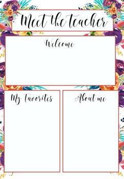 Meet the Teacher Template Floral by Miss Kiz | Teachers Pay Teachers
