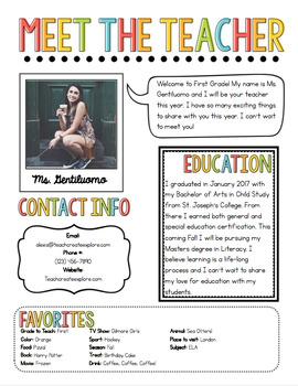 Meet The Teacher Newsletter Template by The Pixie Dust Teacher | TpT