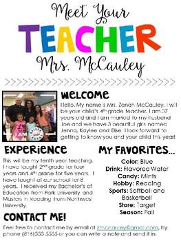 Meet The Teacher Editable Template by Zanah McCauley | TpT