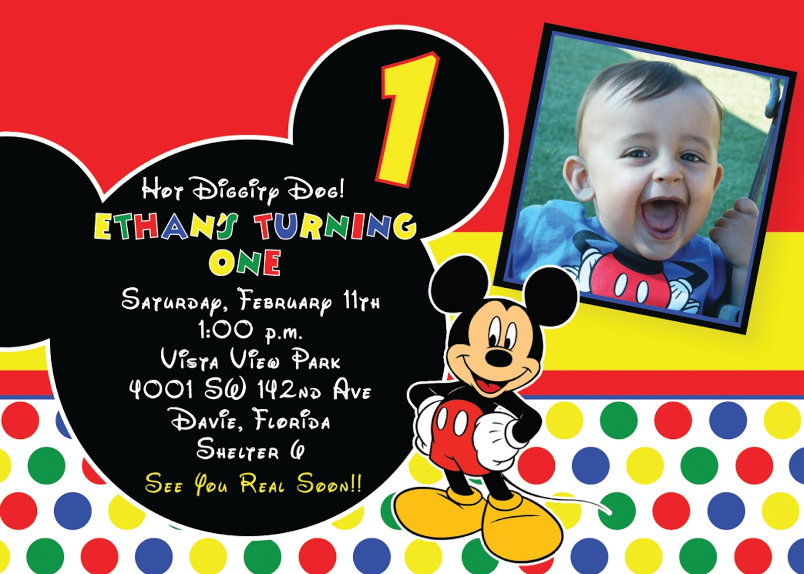 Perfect Mickey Mouse 1st Birthday Invitations Free Birthday