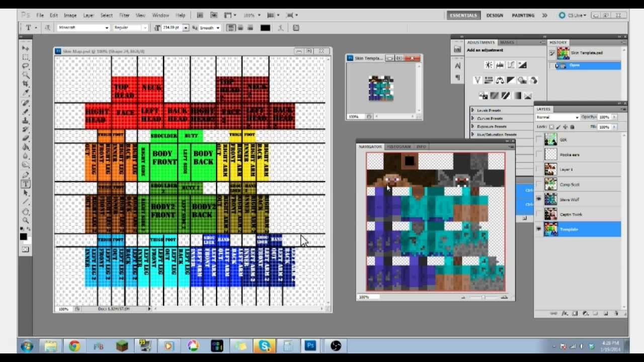 1.8 Minecraft Skin: Template & Map YouTube