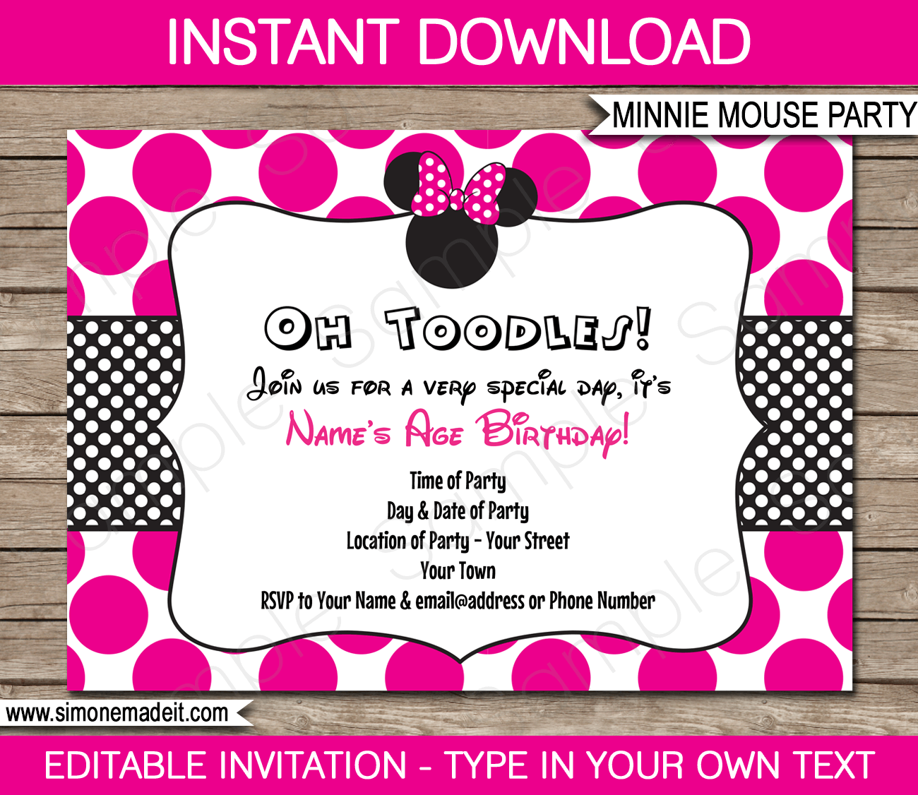 Printable Minnie Mouse Party Invitation Template Perfect Minnie