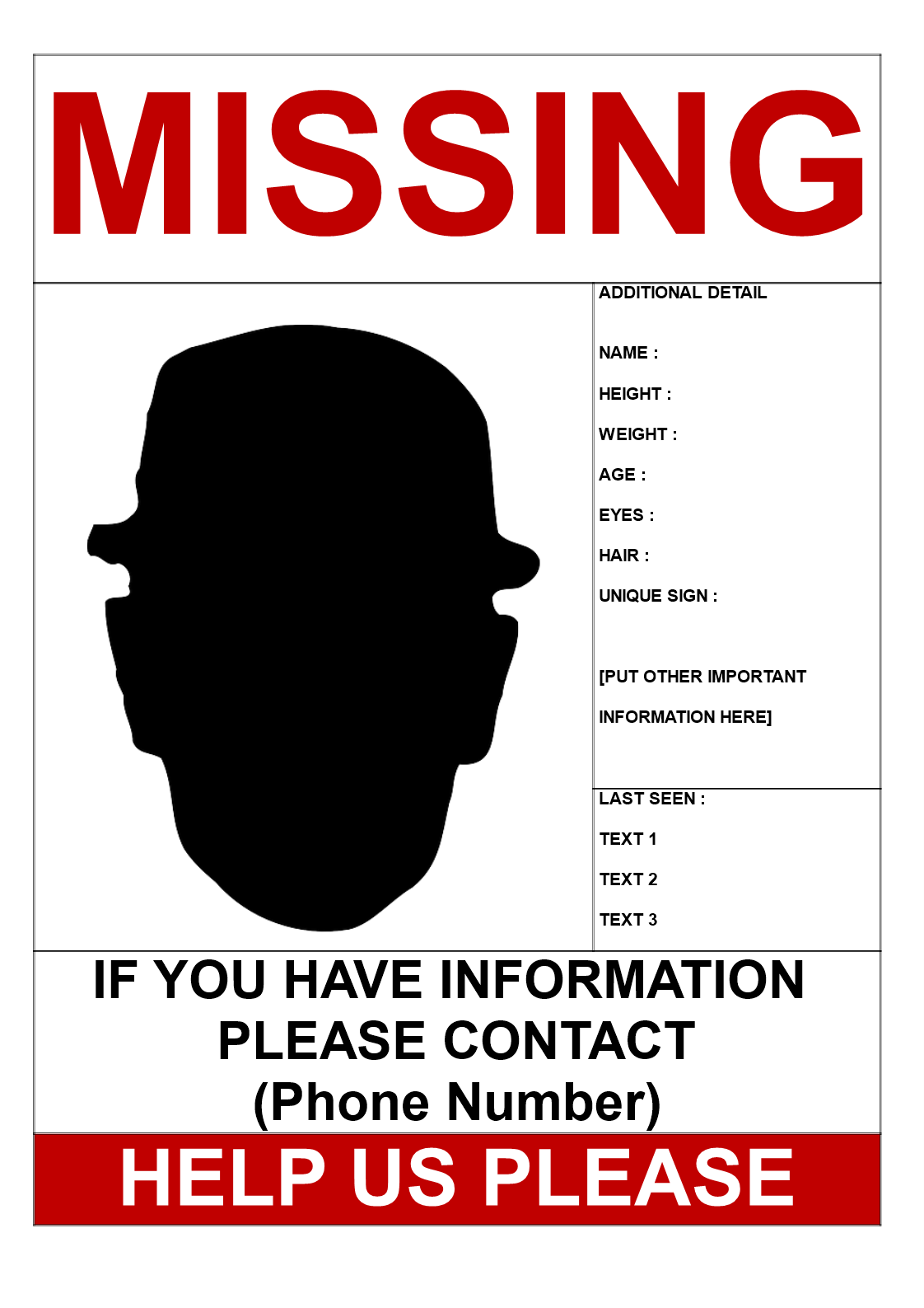 Missing Person Flyers