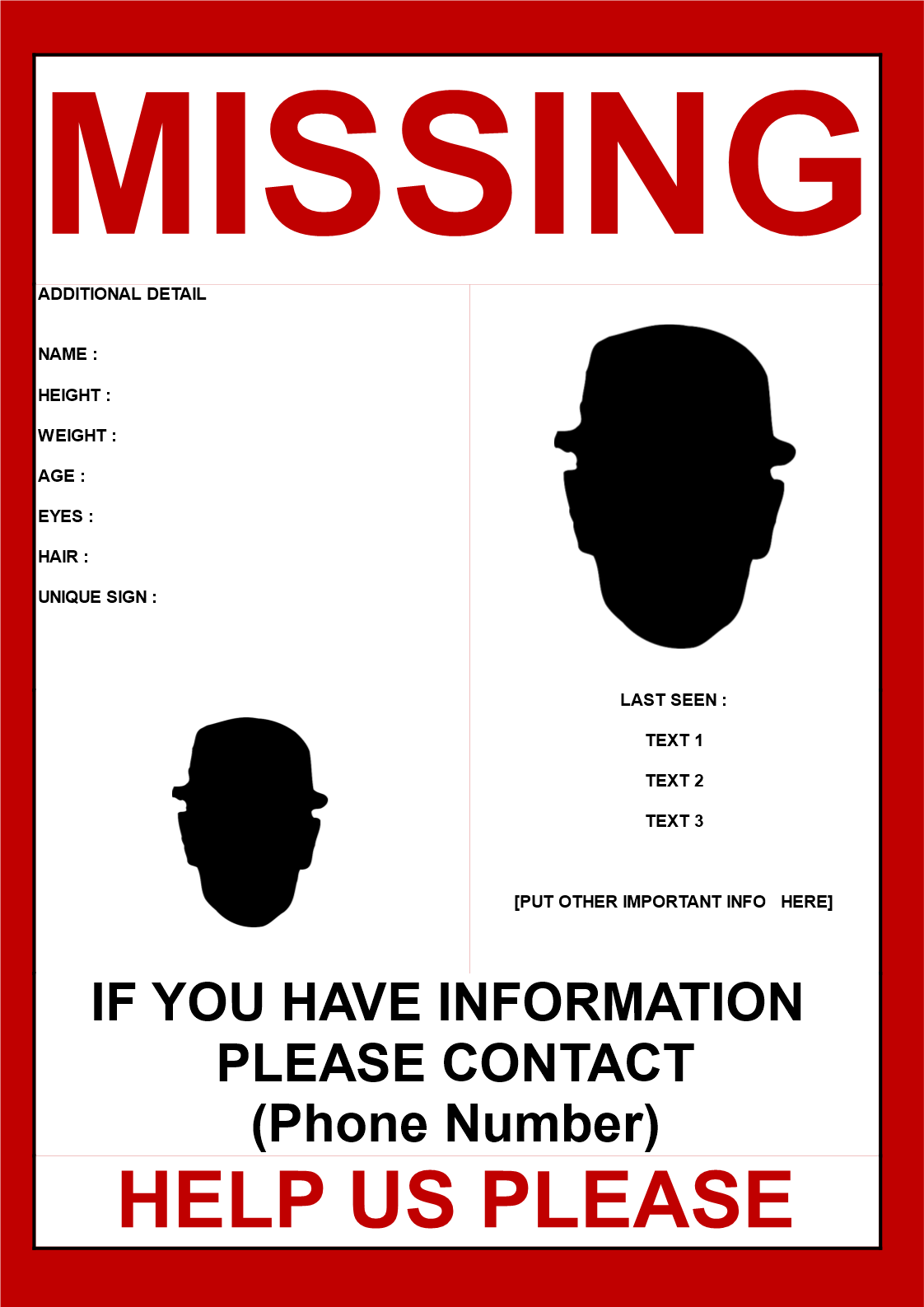 Free Missing person poster template 2 images | Templates at