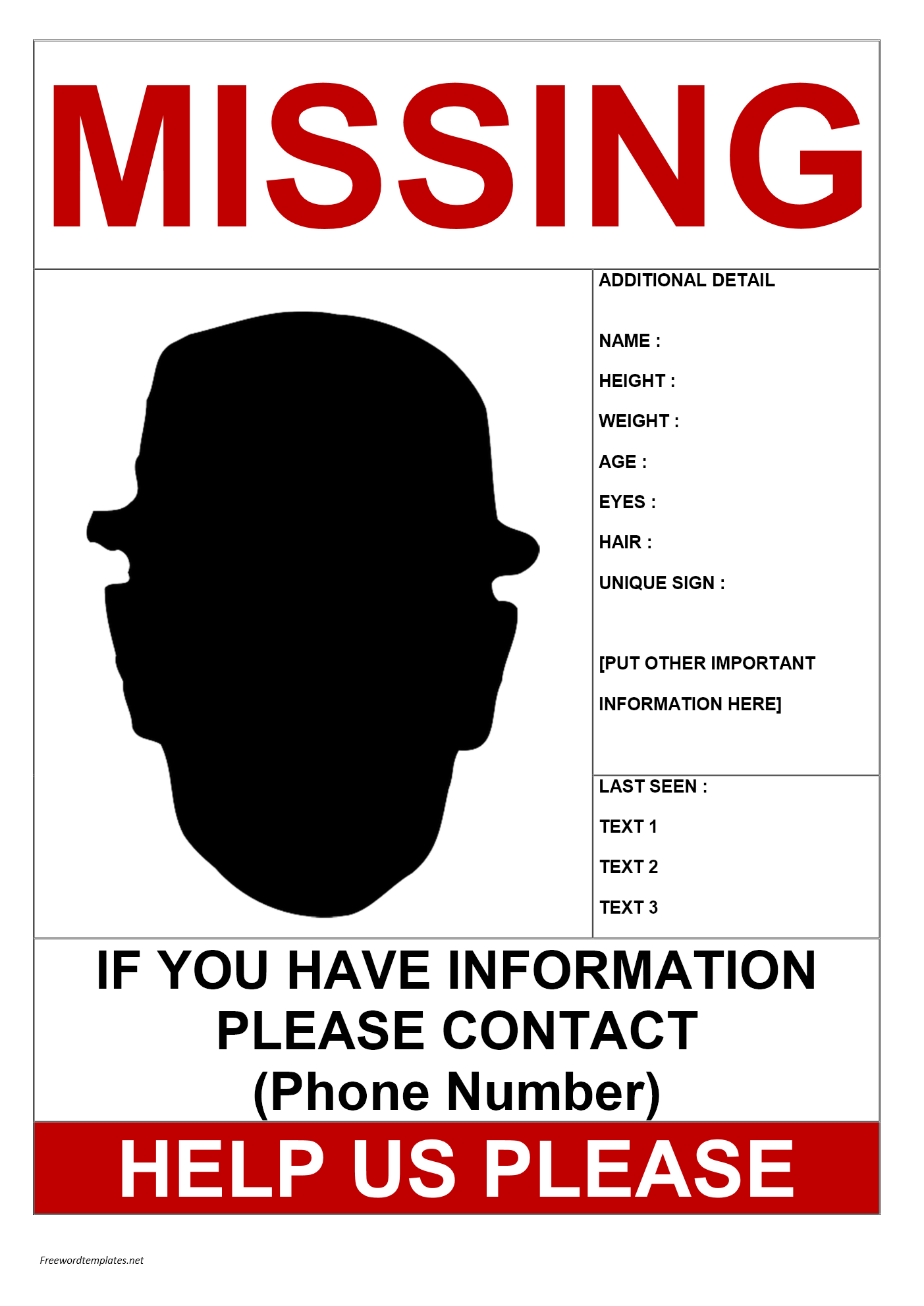 Free Help to find missing person template word | Templates at