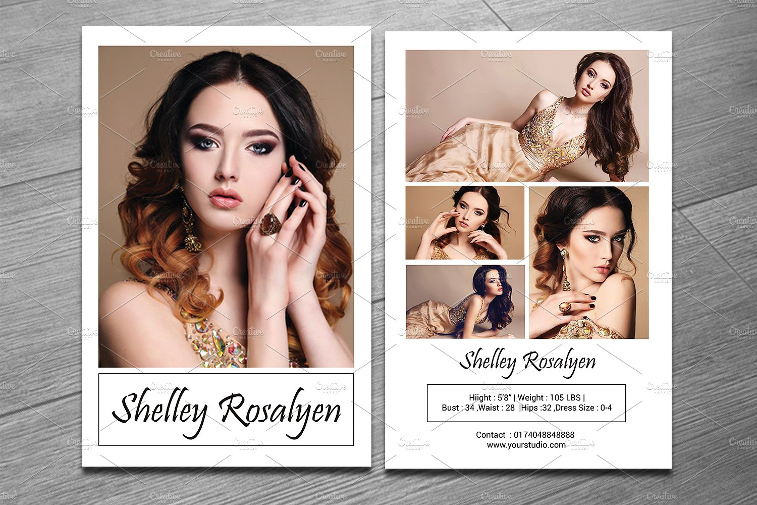 Modeling Comp Card Template V281 ~ Flyer Templates ~ Creative Market