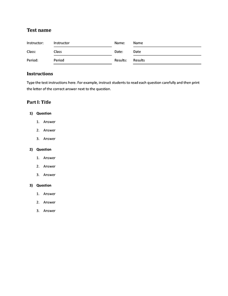 template for multiple choice test April.onthemarch.co