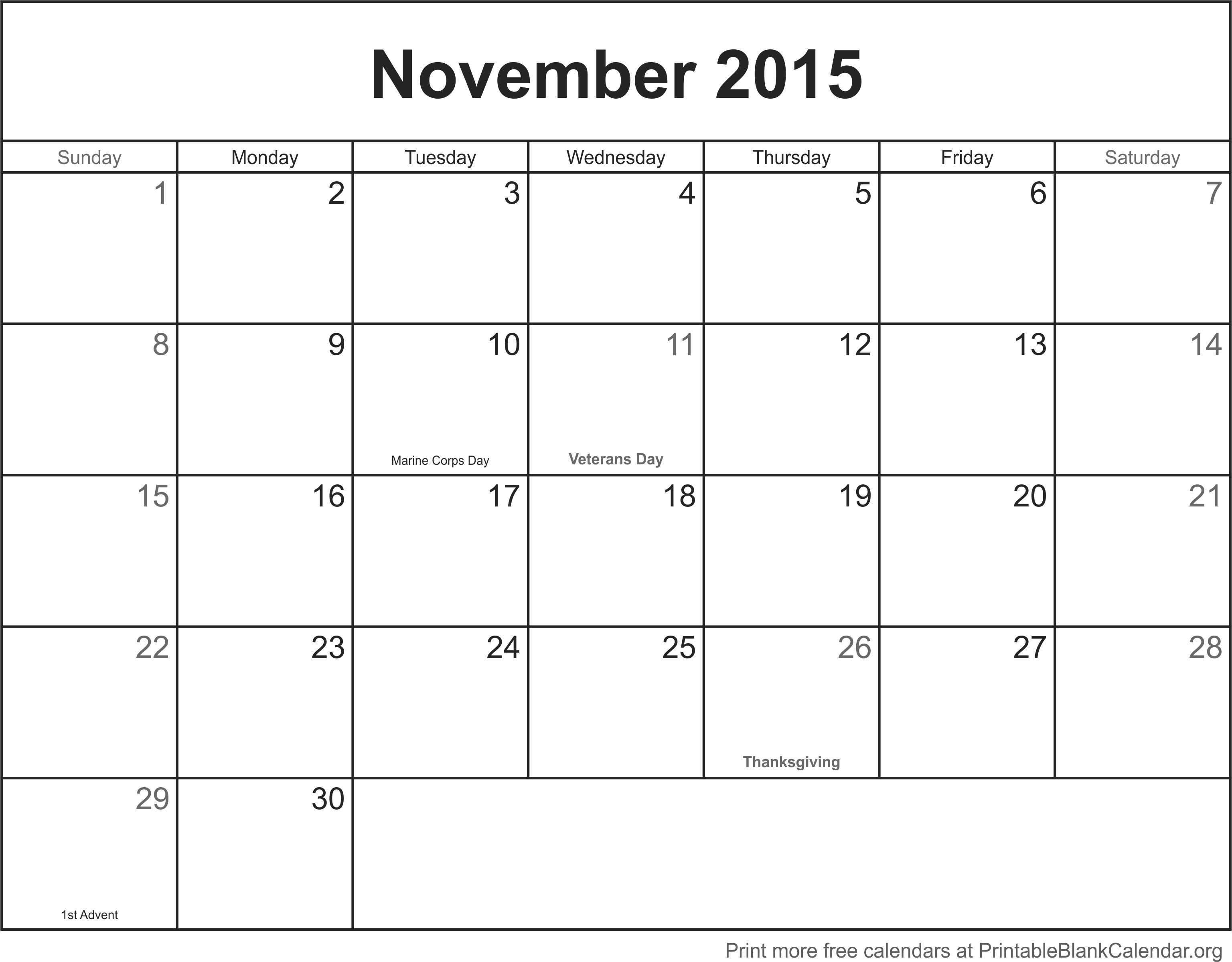 November 2015 Printable Calendar Mesmerizing Blank | mightymic.org