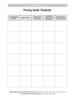 Fillable Online Pacing Guide Template Solution Tree Fax Email