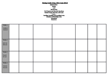 Pacing Guide Template by MizFoley   Teachers Pay Teachers