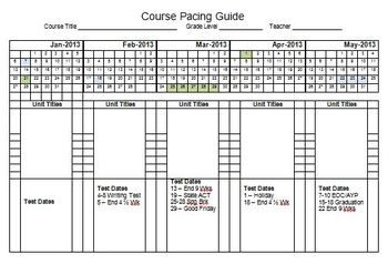 2013 Semester Pacing Guide Template File FREEBIE! by Stephanie Kirk