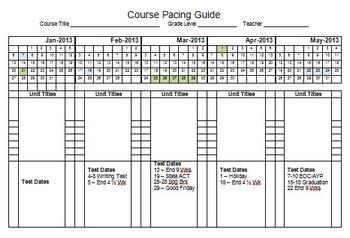 2013 Semester Pacing Guide Template File FREEBIE! by Stephanie Kirk