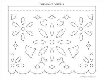 photograph about Papel Picado Templates Printable known as Papel Picado Template