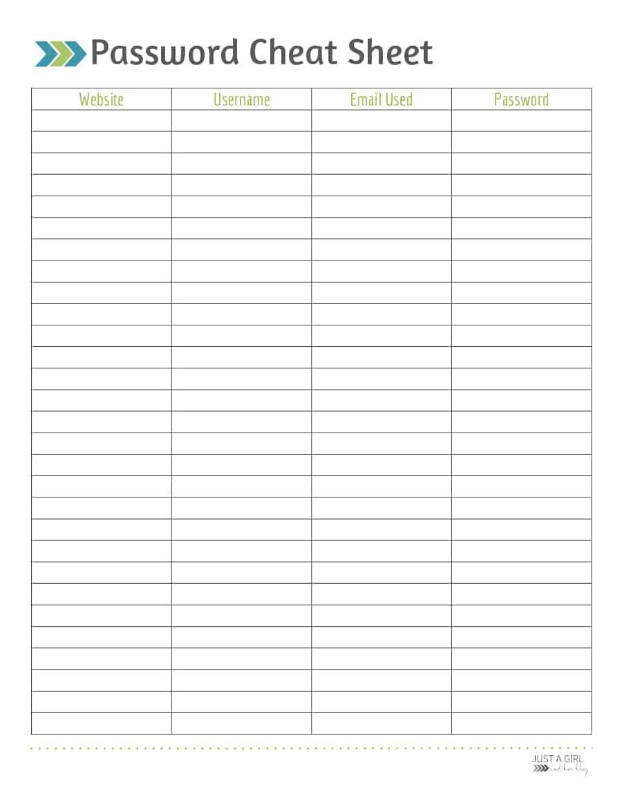 Password List Template