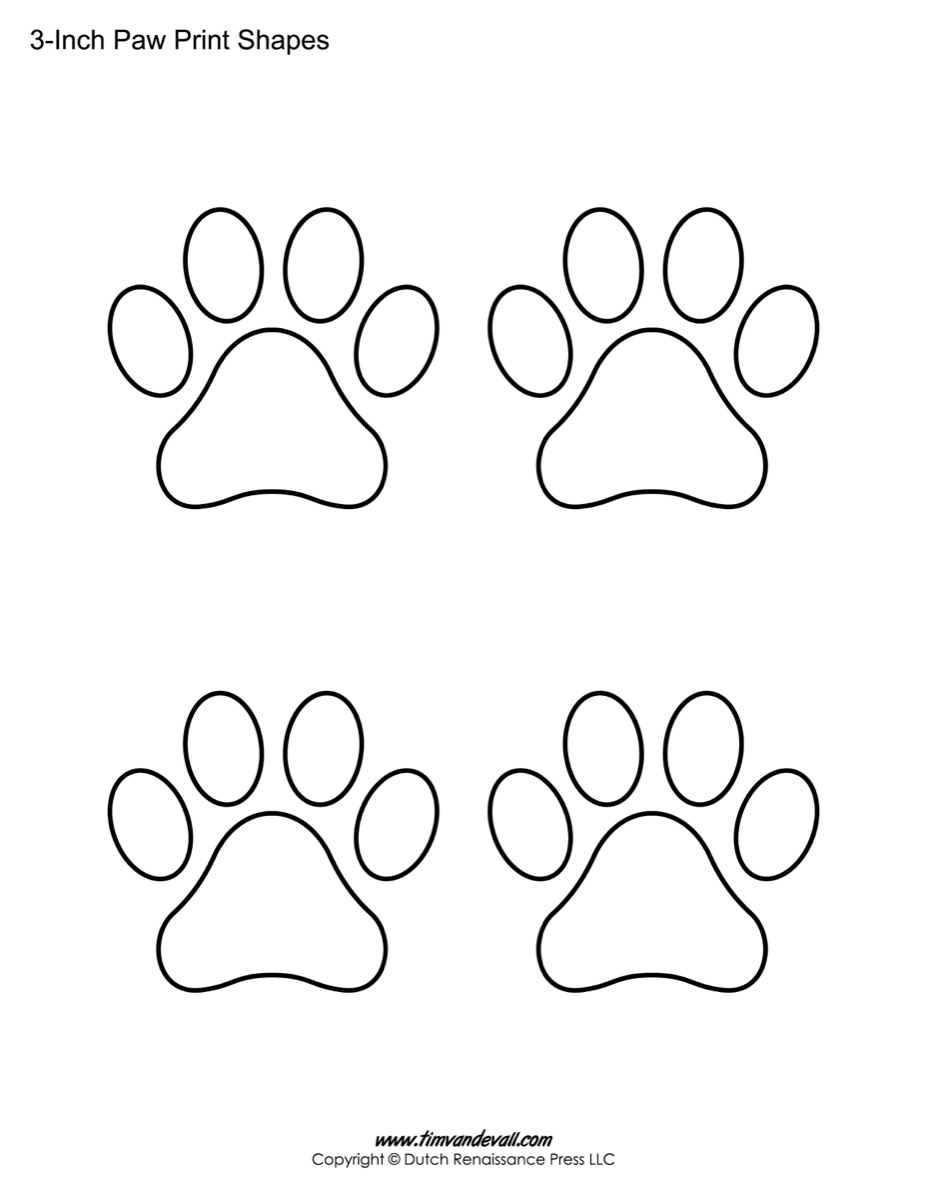 Dog paw print pattern. Use the printable outline for crafts
