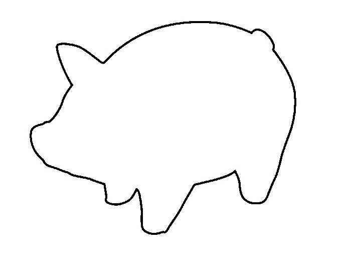 Pig pattern. Use the printable outline for crafts, creating