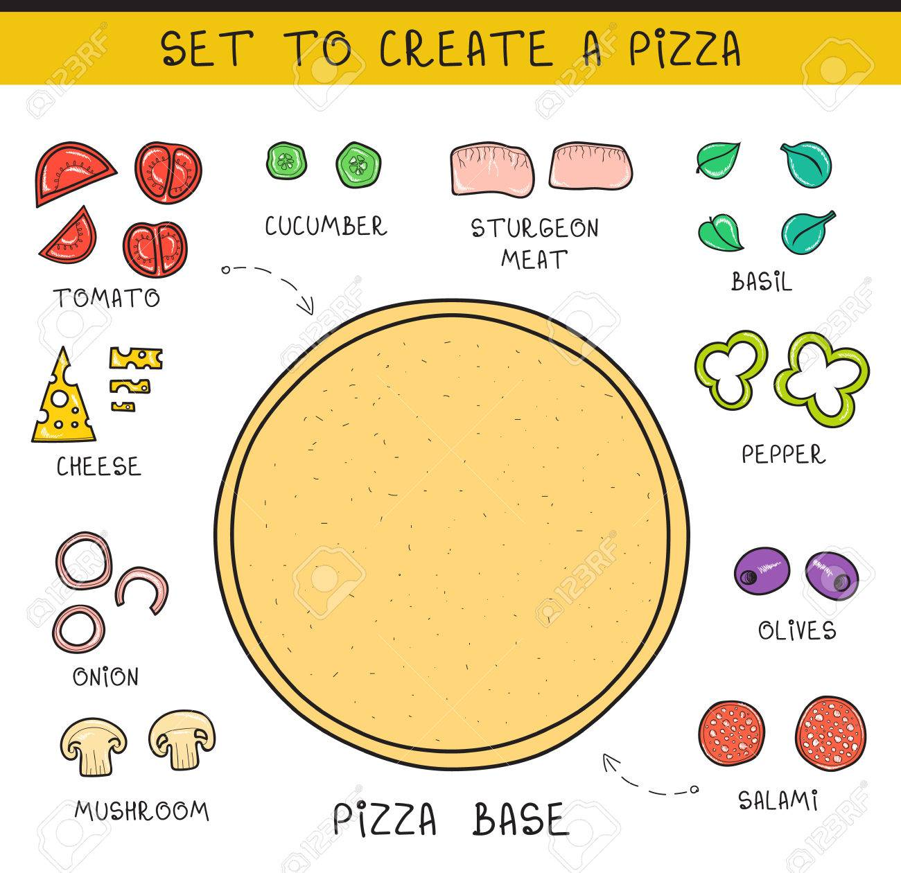 Doodle Set Of Ingredients To Build Pizza. Template Pizza Stock