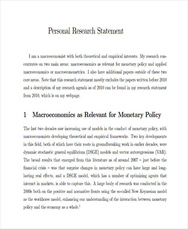 17+ Research Statement Examples PDF, DOC