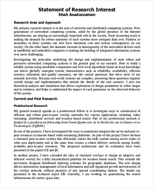 Research Interest Statement Best Template Idea intended for