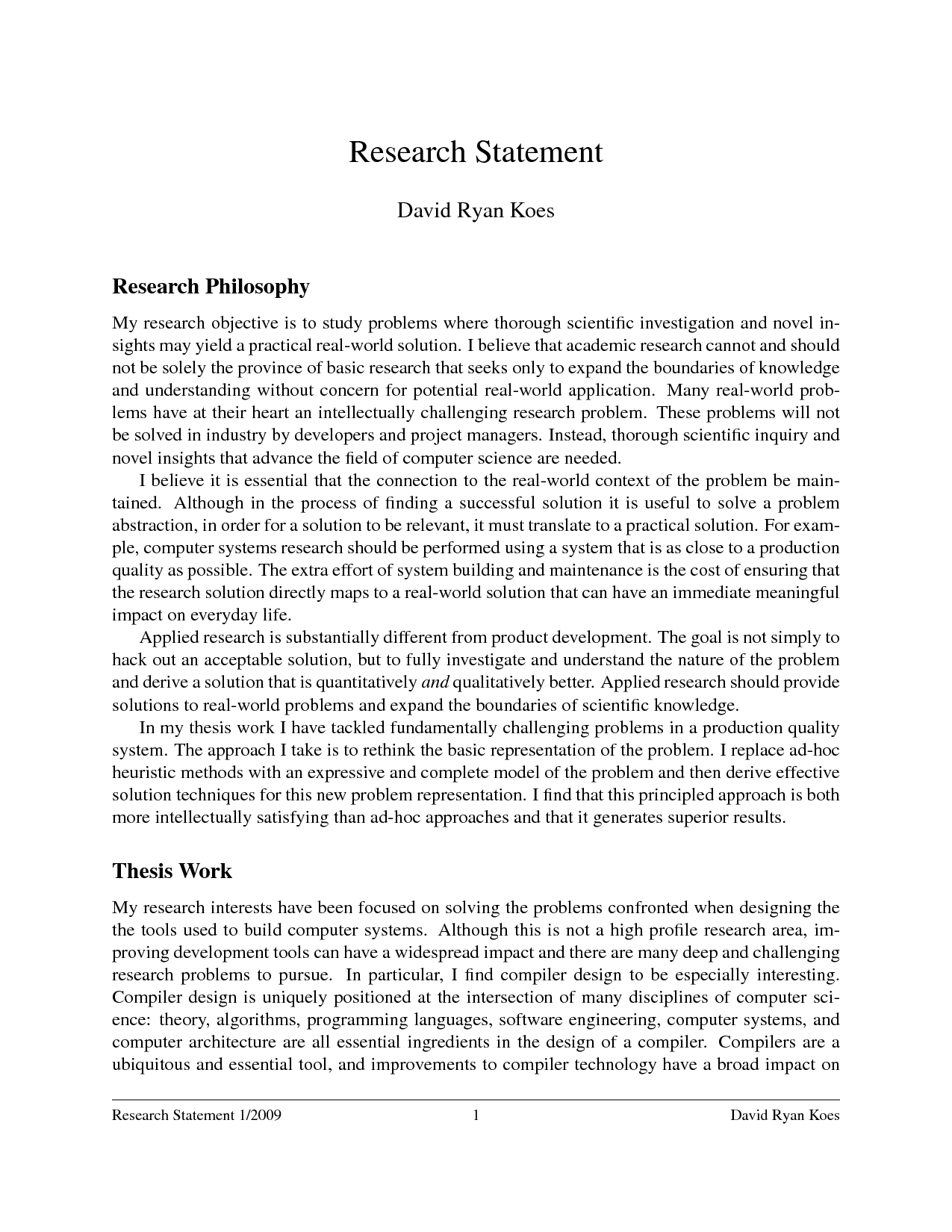 Research Statement Example Best Template Collection