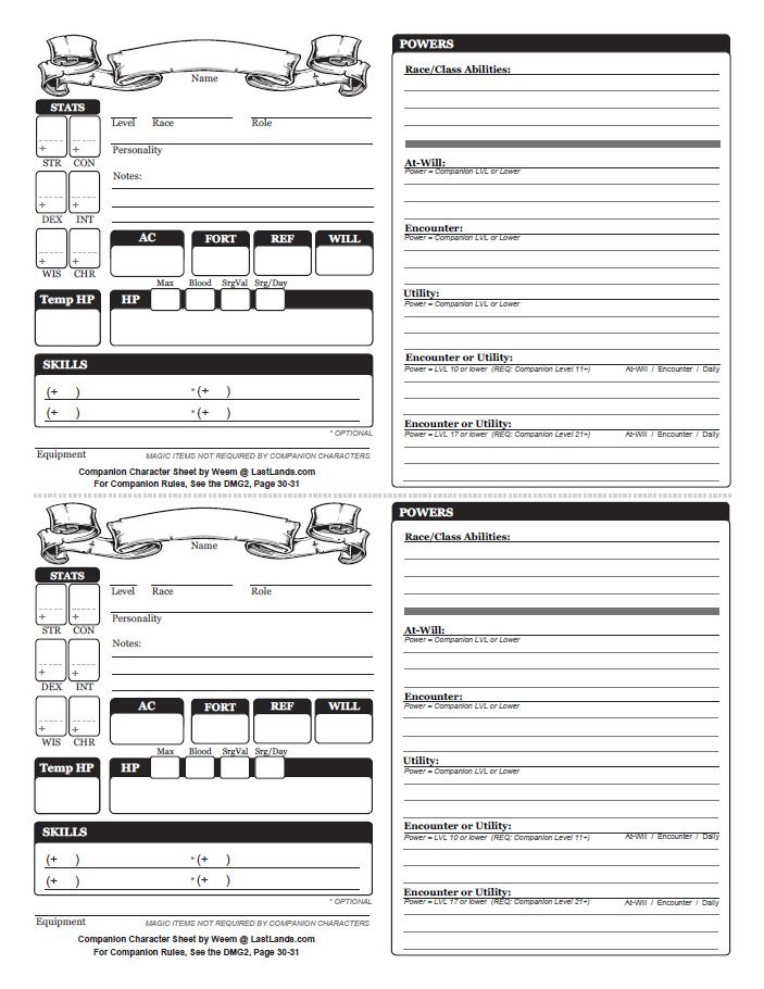 dungeons and dragons character sheets | dungeons and dragons