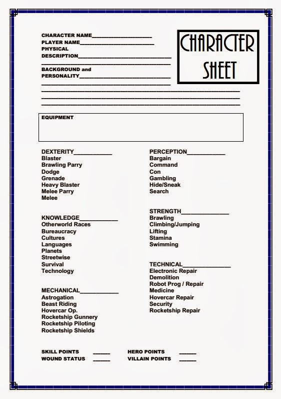 Farsight Blogger: Pulp Science Fiction Adventure Character Sheet