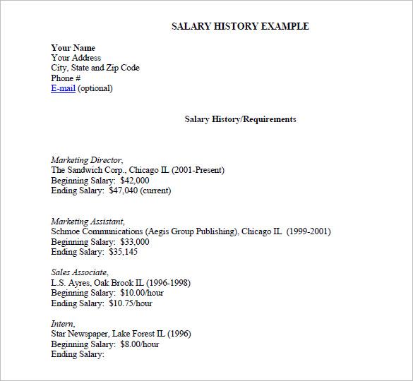 9+ Sample Salary History Templates – Free Word, PDF Documents