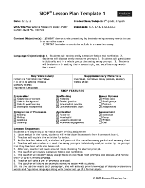2012 2018 Form SIOP Lesson Plan Template 1 Fill Online, Printable