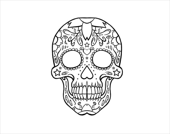 Skull pattern. Use the printable outline for crafts, creating
