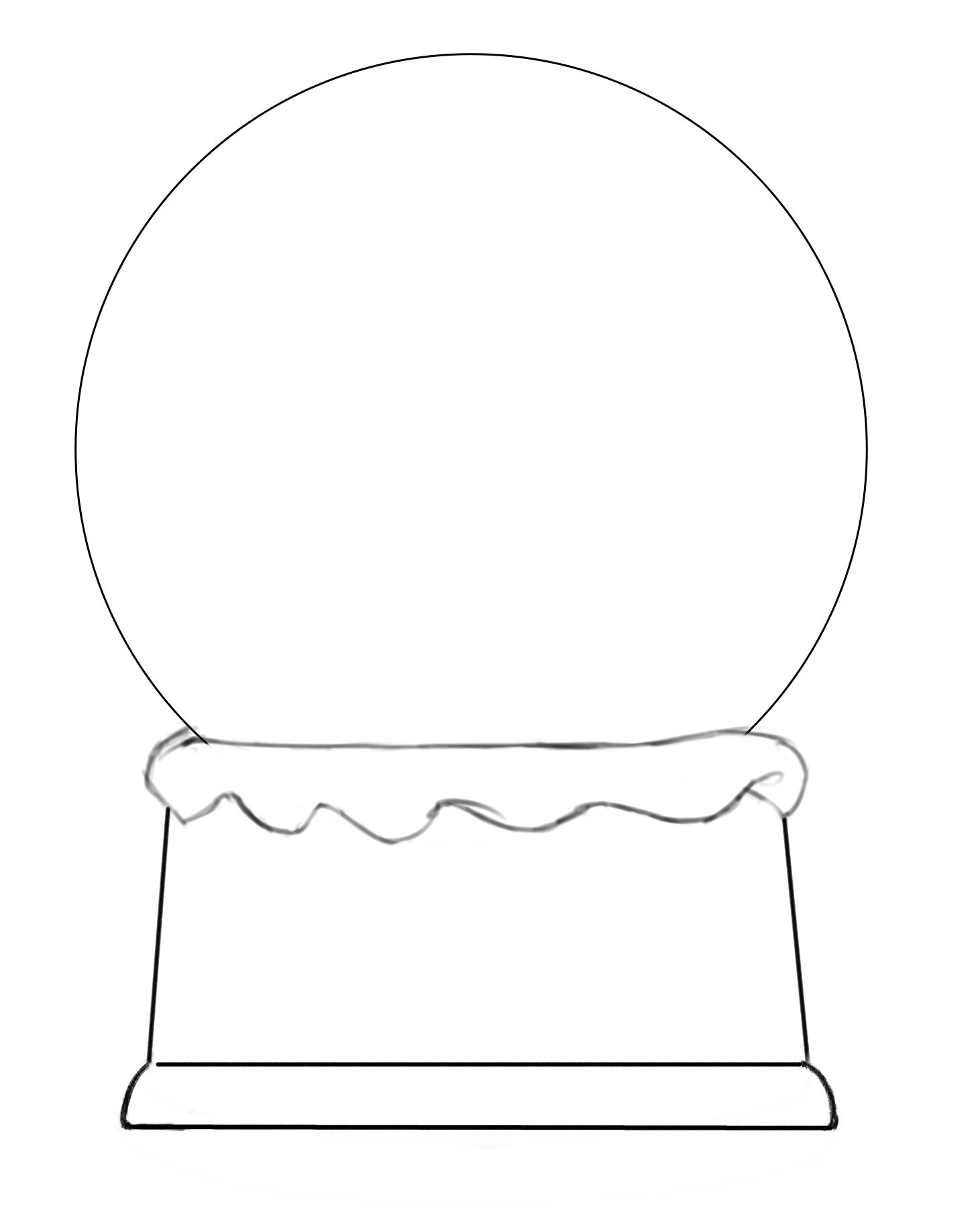 Printable Snow Globe Shape Template | Coloring Page
