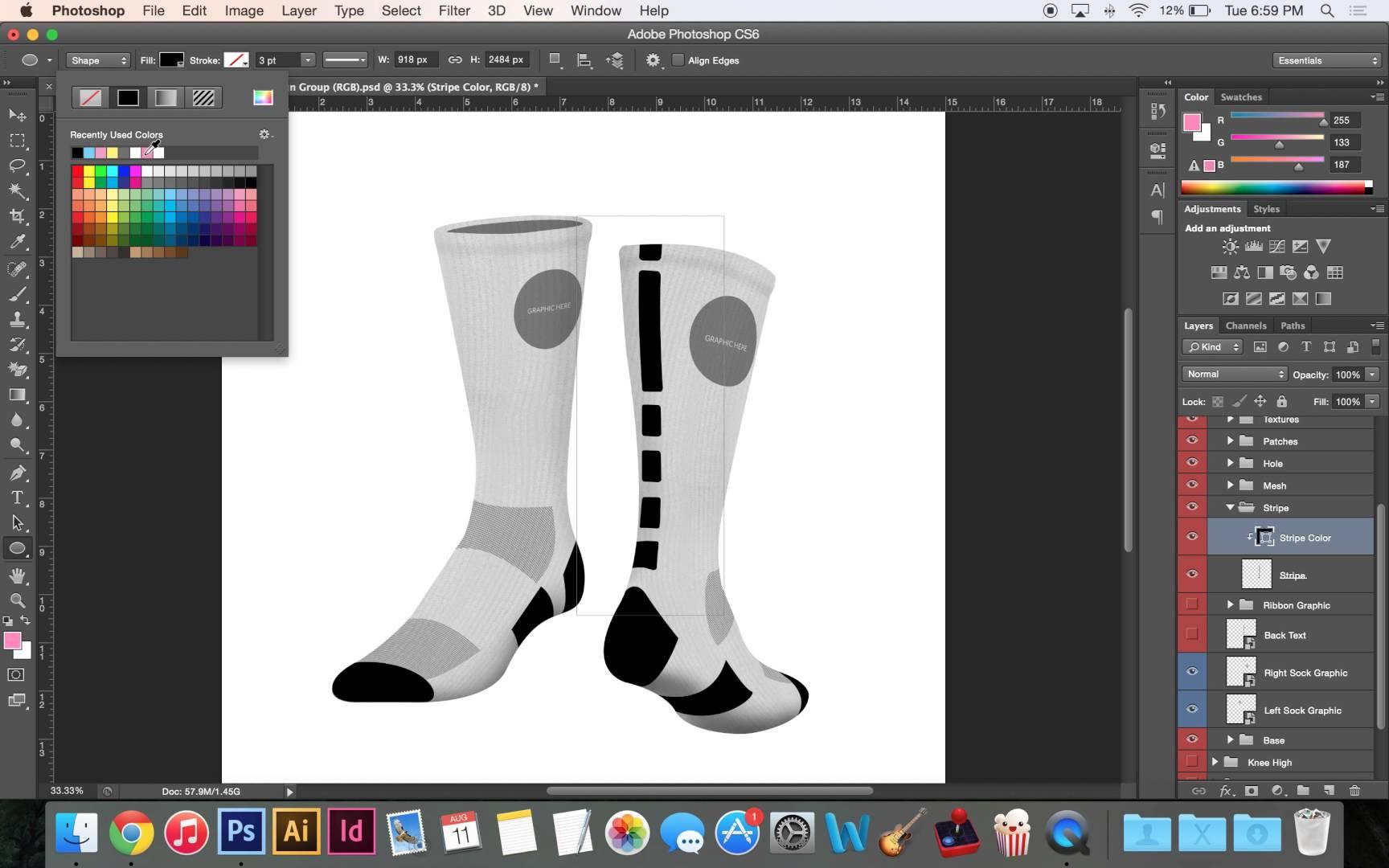 Sock template Royalty Free Vector Image VectorStock