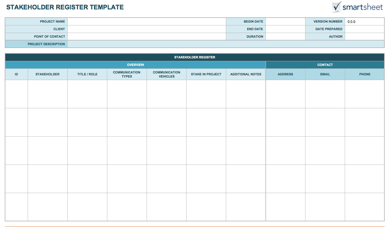 Free Stakeholder Analysis Templates Smartsheet