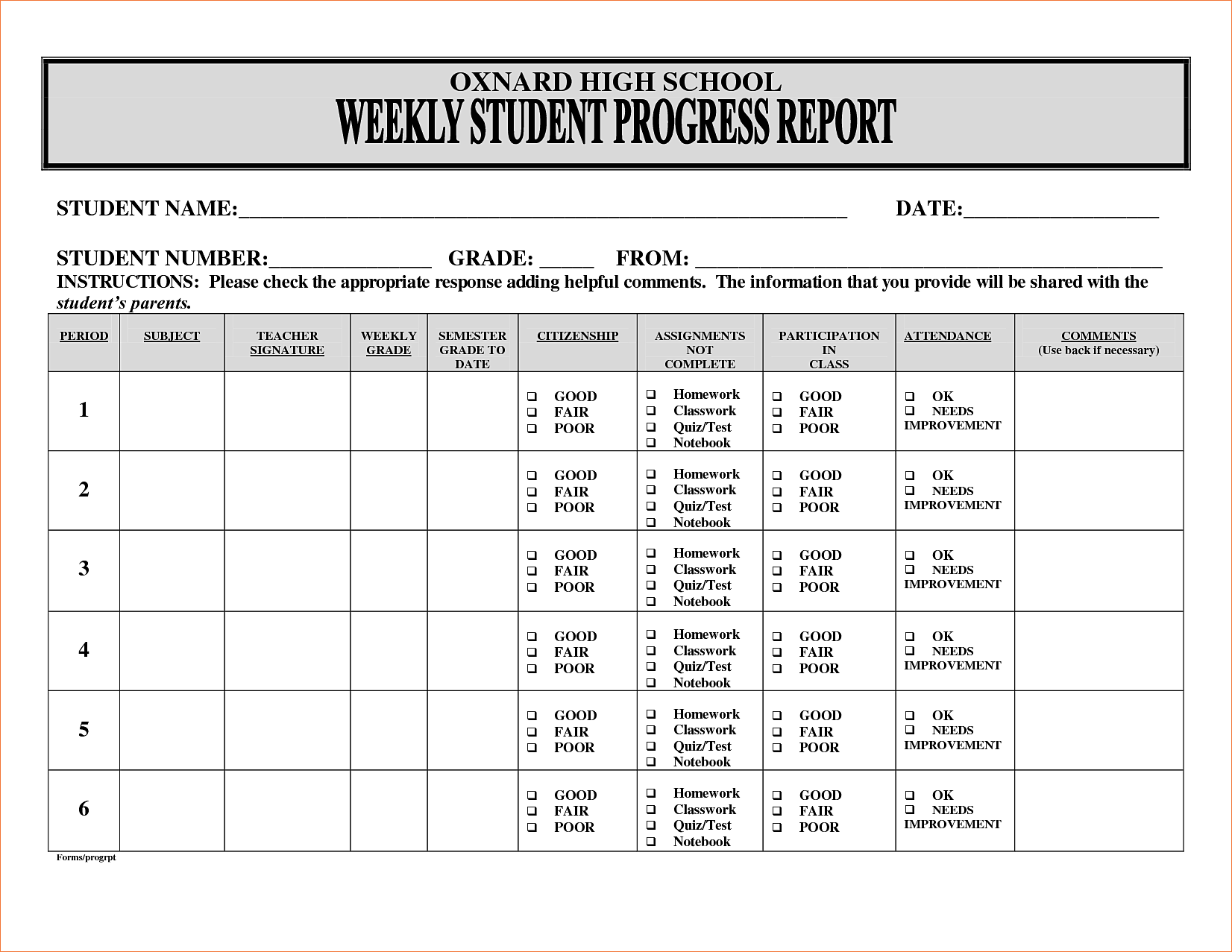 sample of student progress report April.onthemarch.co