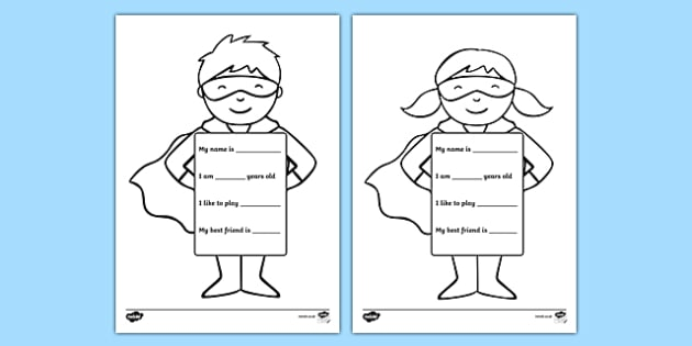All About Me Superhero Writing Template