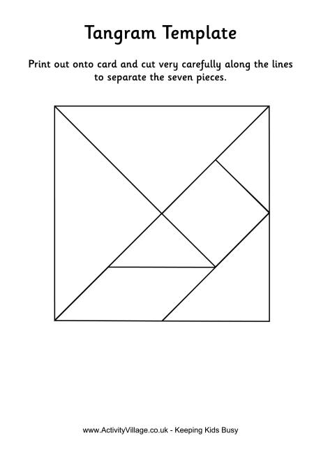 Tangram template black and white, color also available | K/1
